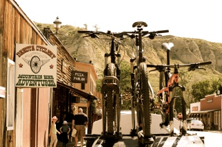 Our bikes and Old Dakota Cyclery Bike Shop!