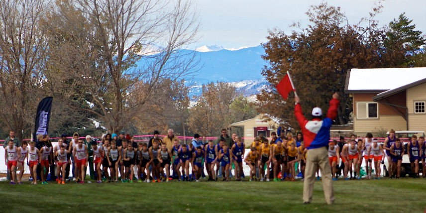MWC XC Championships Start...vibrant Rockies in background.